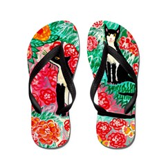 Cats and Roses Flip Flops