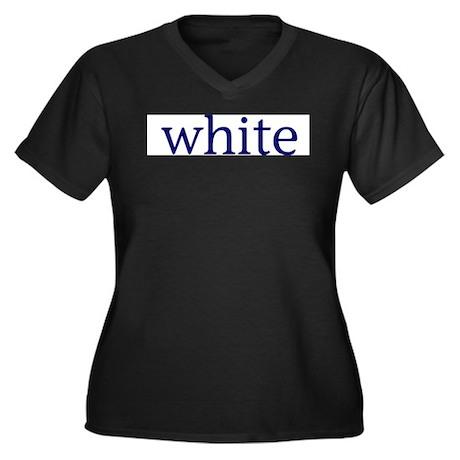 White Women's Plus Size V-Neck Dark T-Shirt