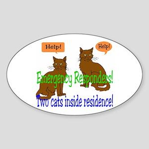 Two Cat Alert Oval Sticker