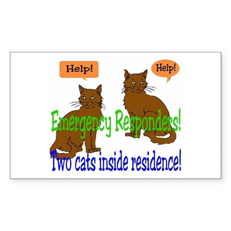 Two Cat Alert Rectangle Sticker
