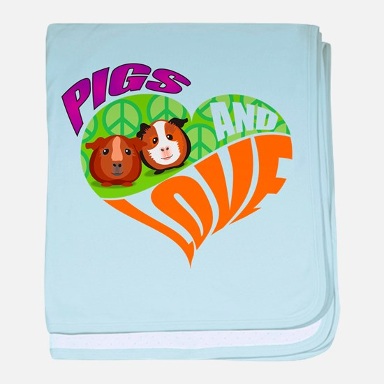 Pigs and Love baby blanket