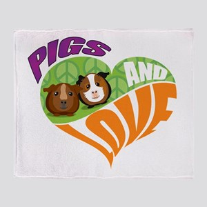 Pigs and Love Throw Blanket