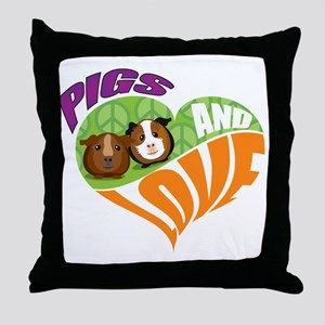 Pigs and Love Throw Pillow
