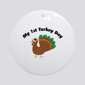 My 1st Turkey Day Ornament (Round)
