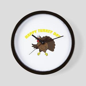 Happy Turkey Day Wall Clock