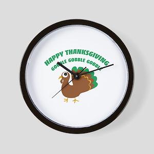 Gobble Happy Thanksgiving Wall Clock