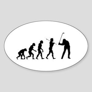 Evolved To Golf Sticker (Oval)