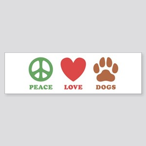 Peace Love Dogs 2 Sticker (Bumper)