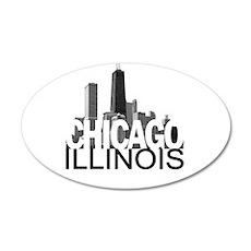 Chicago Skyline 22x14 Oval Wall Peel