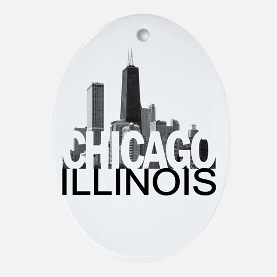 Chicago Skyline Ornament (Oval)