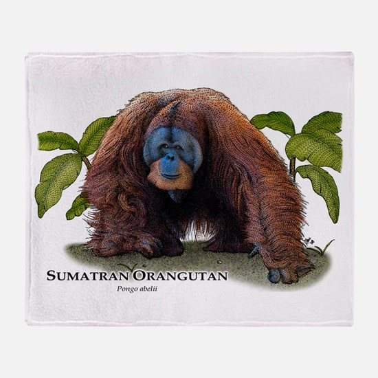 Sumatran Orangutan Throw Blanket