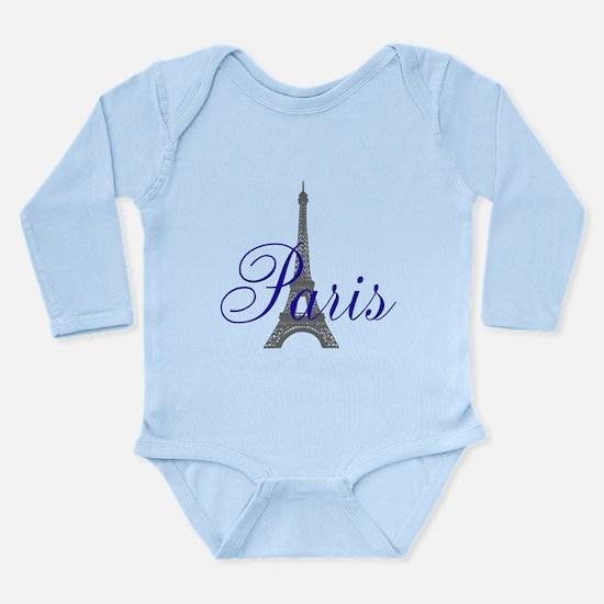 Paris Always (blue) Long Sleeve Infant Bodysuit