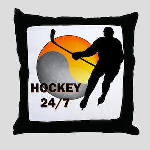 Hockey 24/7 Throw Pillow