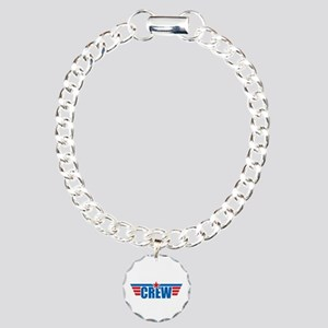 Aviation Crew Wings Charm Bracelet, One Charm