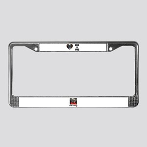 HUG A PUG (BLACK CHINESE PUG) License Plate Frame