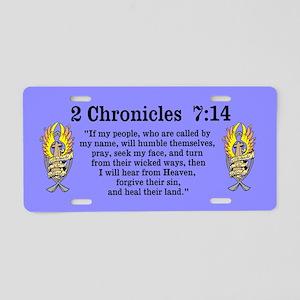 2 Chr 7:14 Gold Cross - Aluminum License Plate