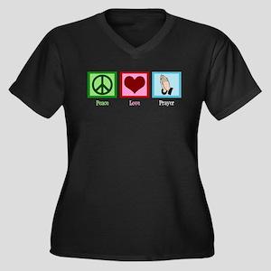 Peace Love Prayer Women's Plus Size V-Neck Dark T-