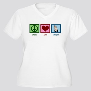 Peace Love Prayer Women's Plus Size V-Neck T-Shirt