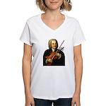 J.S. Bach on Viola Women's V-Neck T-Shirt