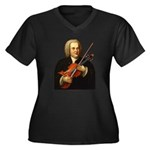 J.S. Bach on Viola Women's Plus Size V-Neck Dark T