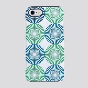 Blue and green circles pattern iPhone 7 Tough Case
