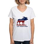 Bull Moose Party Women's V-Neck T-Shirt