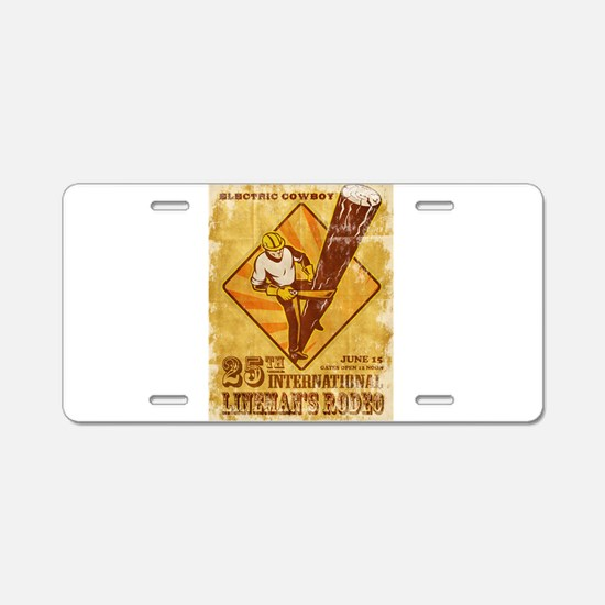 power lineman electrician Aluminum License Plate