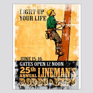power lineman electrician Small Poster