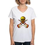 Skull & Guitar Women's V-Neck T-Shirt