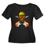 Skull & Guitar Women's Plus Size Scoop Neck Dark T