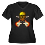 Skull & Guitar Women's Plus Size V-Neck Dark T-Shi