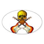 Skull & Guitar Sticker (Oval 10 pk)