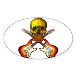 Skull & Guitar Sticker (Oval 50 pk)
