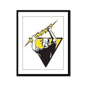 power lineman electrician Framed Panel Print