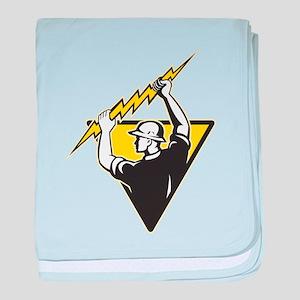 power lineman electrician baby blanket