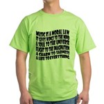 Music is a Moral Law Green T-Shirt