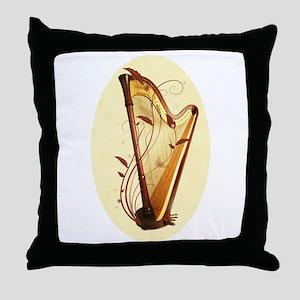 Pedal Harp Throw Pillow