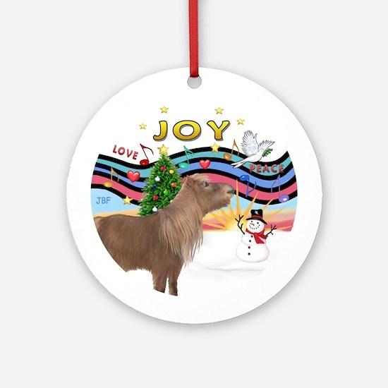 Xmas Music1 - Shetland pony Ornament (Round)