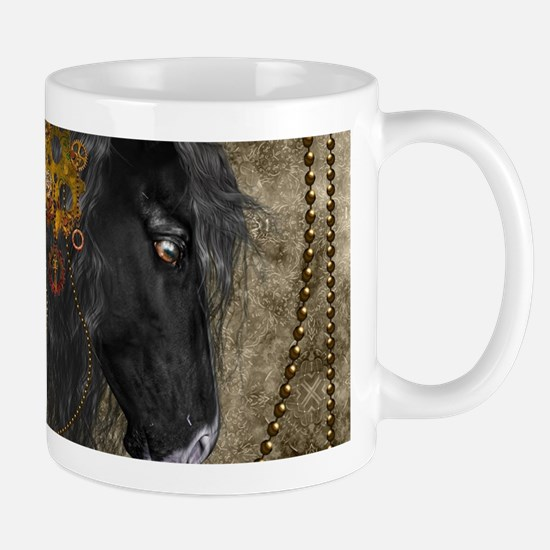 Beautiful wild horse with steampunk elements Mugs