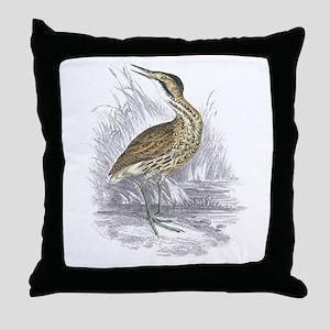 Bittern Bird Throw Pillow