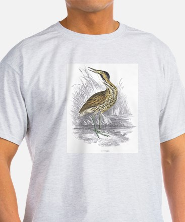 Bittern Bird (Front) Ash Grey T-Shirt