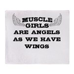 Muscle Girls have wings Throw Blanket