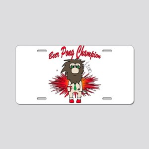 Cave man beer pong Aluminum License Plate