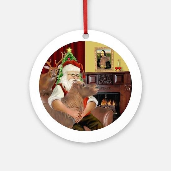Santa's Shetland Pony Ornament (Round)