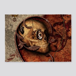 Scary skull with steampunk, elements and mechanica