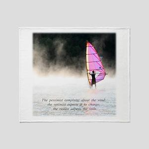 Windsurfer Adjust the Sails Throw Blanket