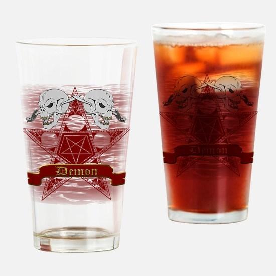 Pentagram with Skull Design Drinking Glass