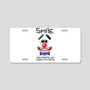 Smile Alone Aluminum License Plate