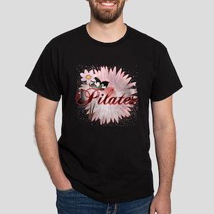 Pink PIlates Flowers by Svelte.biz Dark T-Shirt