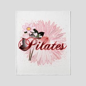 Pink PIlates Flowers by Svelte.biz Throw Blanket